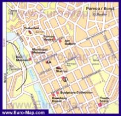 Карта Порвоо с достопримечательностями