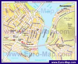 Туристическая карта Рованиеми с достопримечательностями