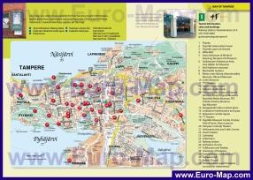 Туристическая карта Тампере с магазинами и достопримечательностями