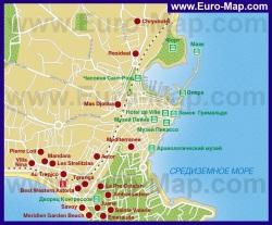 Карта Антиба с отелями