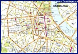 Подробная карта Бордо с достопримечательностями
