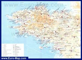 Карта Бретани с городами