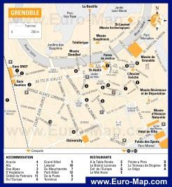Подробная карта города Гренобль