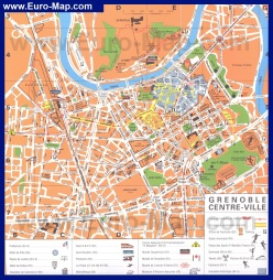 Туристическая карта Гренобля с достопримечательностями