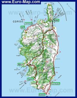 Туристическая карта Корсики