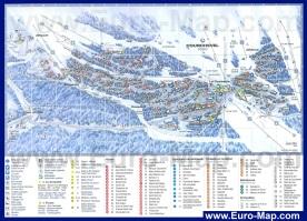 Подробная карта Куршевеля с отелями