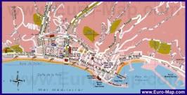 Туристическая карта Ментоны с достопримечательностями