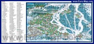 Подробная карта Мерибеля с отелями
