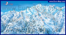 Схема горнолыжных трасс курорта Мерибель