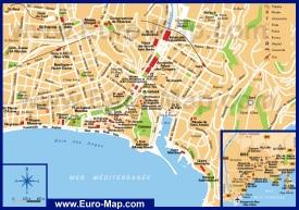 Карта центра города Ницца