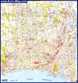 Карта Ниццы с достопримечательностями