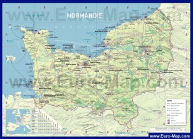 Подробная карта Нормандии