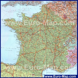 Подробная карта Франции на русском языке с городами