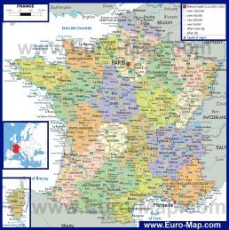Политическая карта Франции с провинциями и регионами