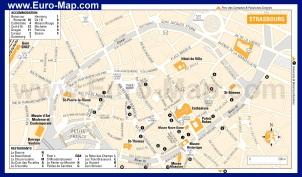 Подробная карта Страсбурга с достопримечательностями