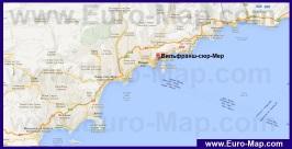 Вильфранш-сюр-Мер на карте Лазурного берега Франции