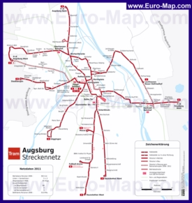 Карта маршрутов транспорта Аугсбурга