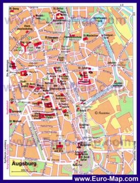 Туристическая карта Аугсбурга с достопримечательностями
