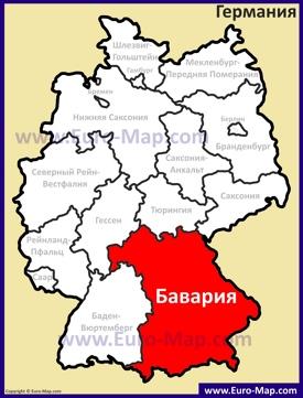 Бавария на карте Германии
