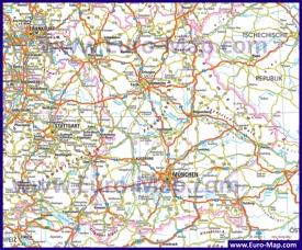 Подробная автомобильная карта дорог Баварии с городами