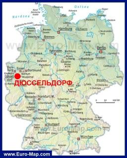 Дюссельдорф на карте Германии