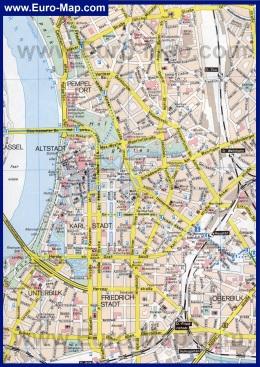 Подробная карта города Дюссельдорф