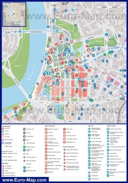 Туристическая карта Дюссельдорфа с достопримечательностями