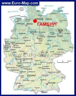 Гамбург на карте Германии