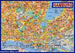 Туристическая карта Гамбурга с достопримечательностями