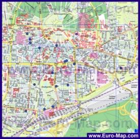 Туристическая карта Карлсруэ с достопримечательностями