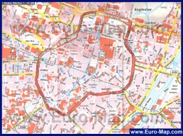 Карта центра Мюнхена с достопримечательностями