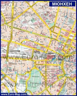 Подробная карта Мюнхена на русском языке