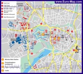Туристическая карта Мюнстера с отелями и достопримечательностями