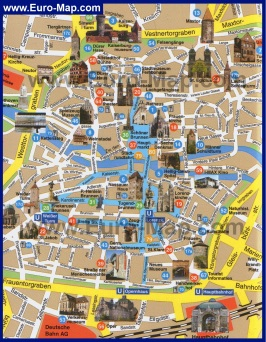 Карта Нюрнберга с достопримечательностями