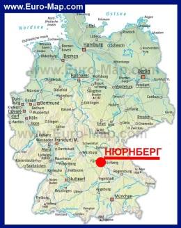 Нюрнберг на карте Германии