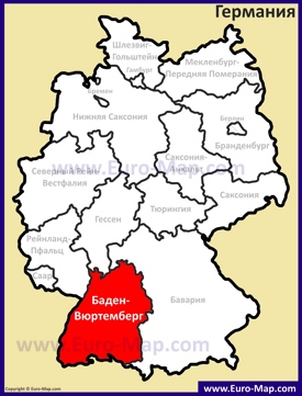Баден-Вюртемберг на карте Германии