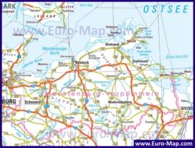 Автомобильная карта дорог Мекленбурга-Передней Померании