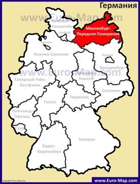 Мекленбург-Передняя Померания на карте Германии