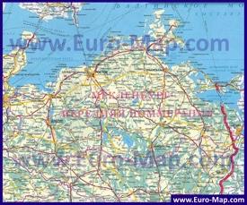 Подробная карта Мекленбурга-Передней Померании на русском языке