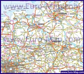Автомобильная карта дорог Нижней Саксонии
