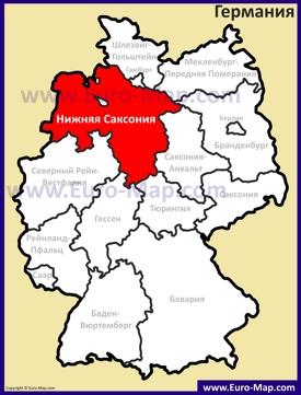 Нижняя Саксония на карте Германии