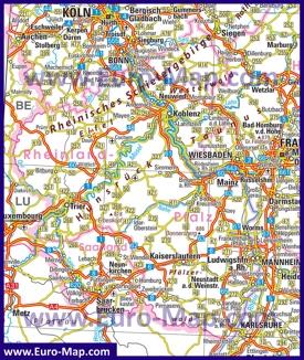 Автомобильная карта дорог Рейнланд-Пфальца