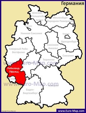 Рейнланд-Пфальц на карте Германии