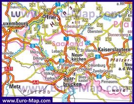 Автомобильная карта дорог Саара