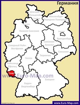 Саар на карте Германии