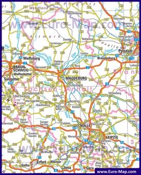 Автомобильная карта дорог Саксонии-Анхальт