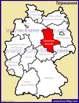 Саксония-Анхальт на карте Германии