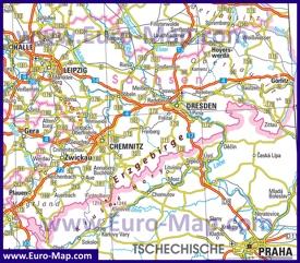 Автомобильная карта дорог Саксонии