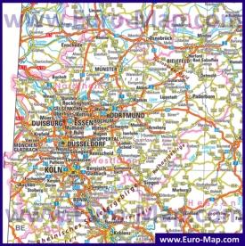 Автомобильная карта дорог земли Северный Рейн-Вестфалия