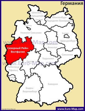 Северный Рейн-Вестфалия на карте Германии